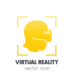 Virtual reality icon on white girl in vr headset vector