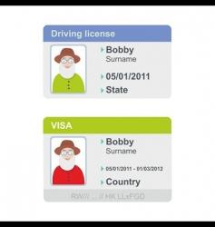 Visa and driving license vector