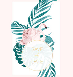 wedding invitation card flamingo tropical leaves vector image