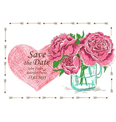 Wedding invitation with mason jar and peony vector