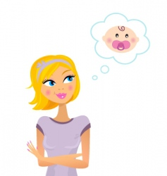 woman dreaming about baby vector image