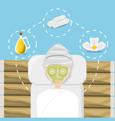 Woman with spa healthy product in the face vector