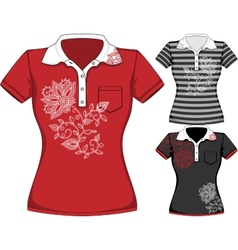 womens short sleeve t-shirt design vector image