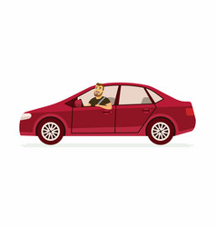 Young man in a car - cartoon people character vector