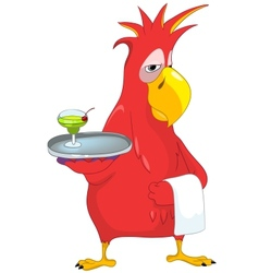 Funny Parrot Waiter vector image