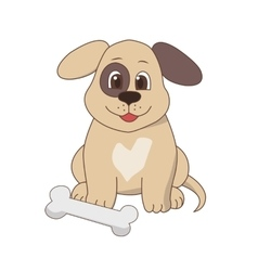 Happy dog with a bone vector image vector image