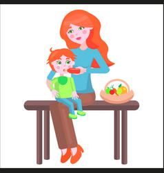 mother sits on bench and feeds baby with bottle vector image vector image