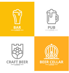 set of beer and alcohol hop barrel logo or vector image vector image