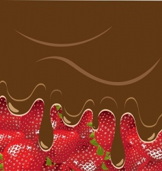 strawberry and chocolate vector image vector image