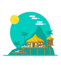 Flat design of beach villa vector image