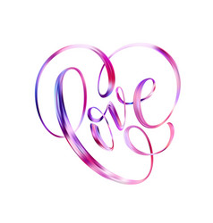 happy valentines day card with hand written love vector image