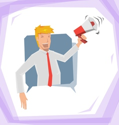 Man hold megaphone vector image