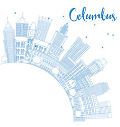 outline columbus skyline with blue buildings and vector image vector image