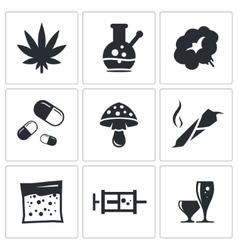Drugs icon set vector image