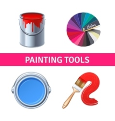 Painting Tools Realistic Set vector image vector image