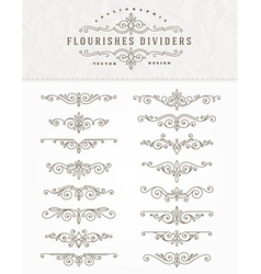 Set of flourishes dividers vector image