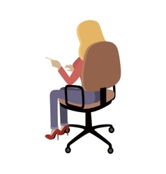 Woman sitting on chair and pointing on something vector