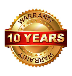 10 years warranty golden label with ribbon vector image
