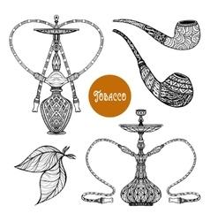 Doodle smoke set vector