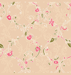 hand drawn trellis floral seamless pattern vector image vector image