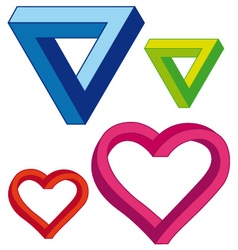 infinite heart and triangle set vector image vector image