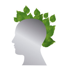 silver contour human with leaves icon vector image vector image