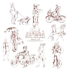 Urban people sketch vector image vector image