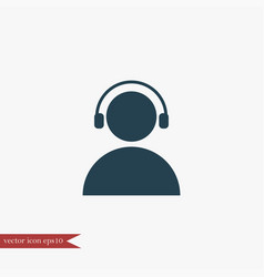 user with headphones icon simple vector image