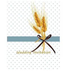 Vintage retro invitation with wheat ears vector
