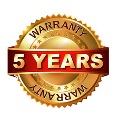 5 years warranty golden label with ribbon vector