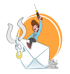 A woman riding a letter vector