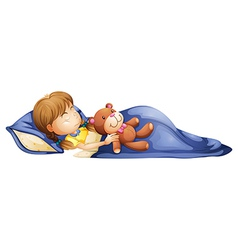 A young girl sleeping with a toy vector image