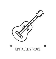 acoustic guitar pixel perfect linear icon vector image