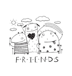Adorable monsters friends outline black and white vector