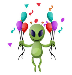 alien with balloons on white background vector image