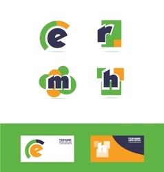 Alphabet letter e r m h logo icon set vector