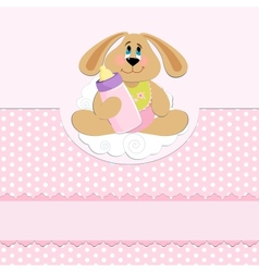 Babys greetings card with rabbit and bottle vector image vector image