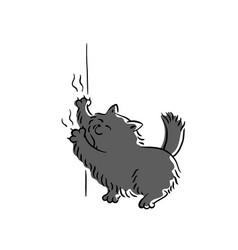 Bad black cat scratching wallpaper sketch cartoon vector