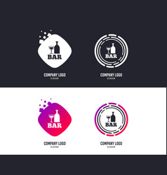 bar or pub sign icon wine bottle and glass vector image