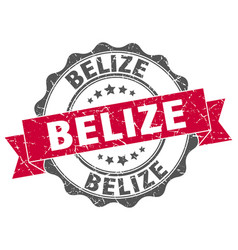 Belize round ribbon seal vector