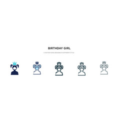 Birthday girl icon in different style two vector
