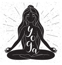 Black and white yoga poster with lettering vector