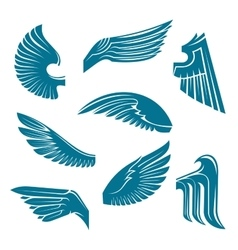 Blue bird wings heraldic design elements vector