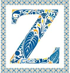 Blue letter Z vector image