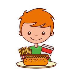 boy with hot dog soda and french fries vector image