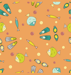 bright seamless pattern with stock for diving vector image