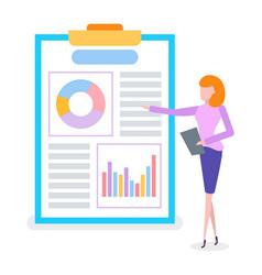 Businesswoman on presentation flip chart vector