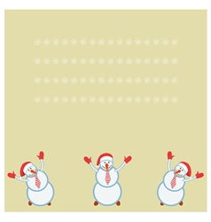 Card three funny snowmen happy vector
