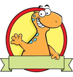 Cartoon brontosaurus dinosaur with a banner vector