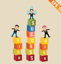 Cartoon Businessman stand on risk block vector